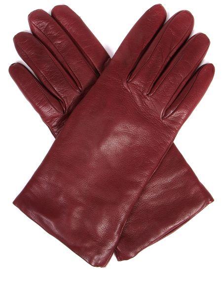 Кашемировые классические бордовые кожаные перчатки Sermoneta Gloves