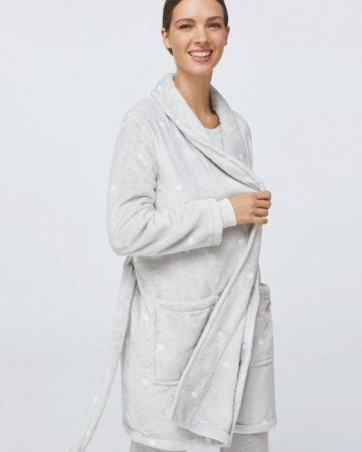 Флисовый серый домашний халат Oysho