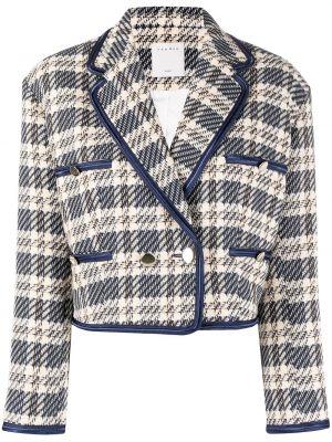 Удлиненный пиджак твидовый двубортный с воротником Sandro Paris