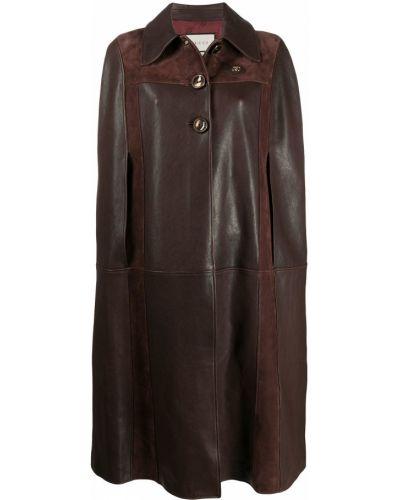 Skórzany klasyczny brązowy peleryna z kołnierzem Gucci