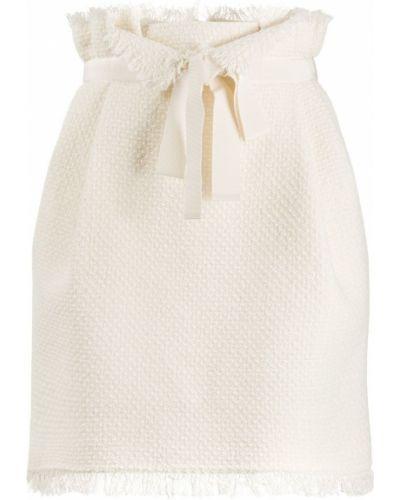 Белая юбка мини твидовая на молнии Alberta Ferretti