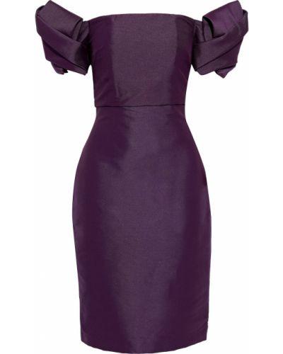 Плиссированное фиолетовое платье на крючках Badgley Mischka