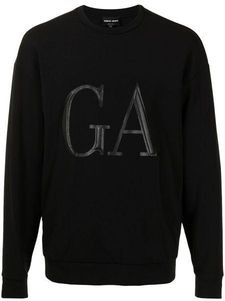 Czarna bluza długa z długimi rękawami z printem Giorgio Armani