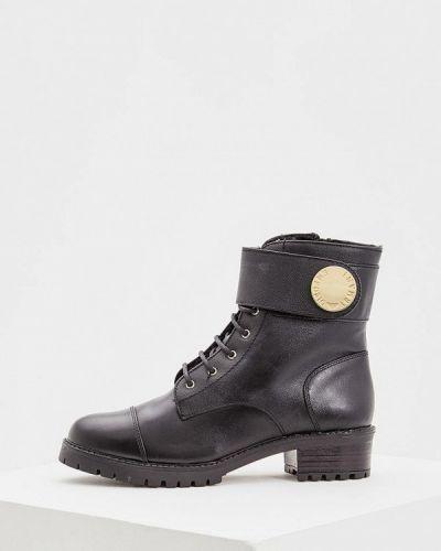 Кожаные ботинки осенние на каблуке Emporio Armani