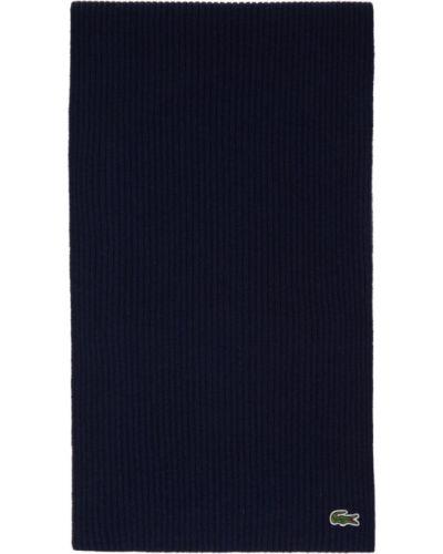 Wełniany biały szalik prostokątny z łatami Lacoste