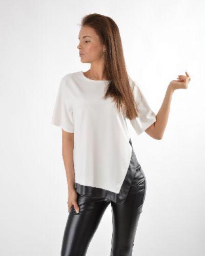 Блузка с коротким рукавом кожаная белая Missguided