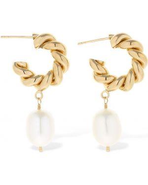 Złote kolczyki sztyfty perły pozłacane Isabel Lennse