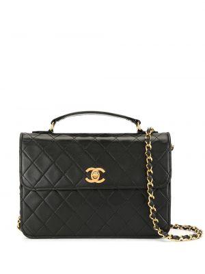 Золотистая черная стеганая кожаная сумка на молнии Chanel Pre-owned