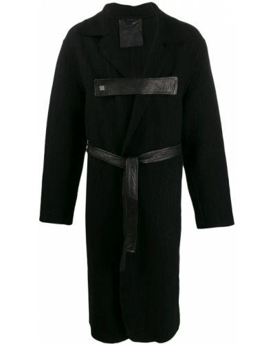 Черное длинное пальто с поясом 10sei0otto