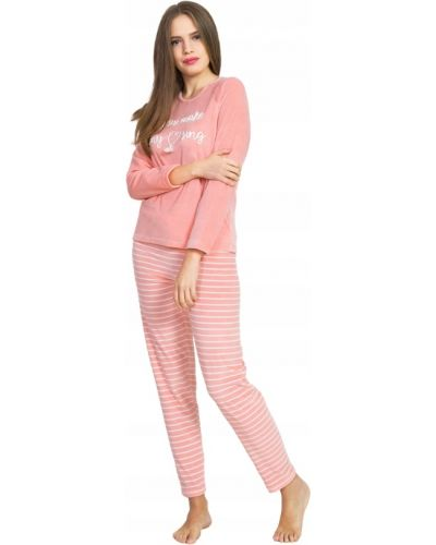 Różowa piżama z długimi rękawami welurowa Vienetta
