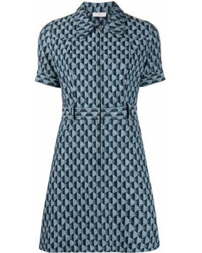 Прямое трикотажное синее платье мини Sandro Paris