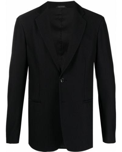 С рукавами черный удлиненный пиджак на пуговицах Giorgio Armani