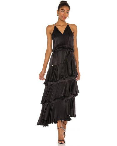 Сатиновое с ремешком черное платье макси Karina Grimaldi