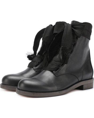 Черные ботинки на шнуровке Chloé