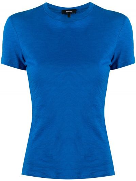 Синяя приталенная рубашка с короткими рукавами Theory