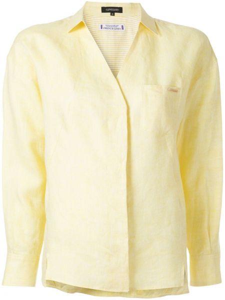 Żółta koszula z długimi rękawami z dekoltem w serek Loveless