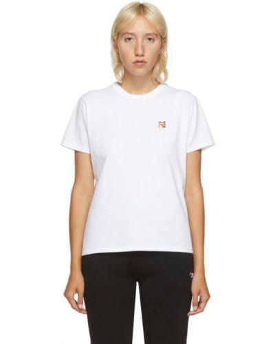 Хлопковая белая рубашка с коротким рукавом с вышивкой с воротником Maison Kitsuné