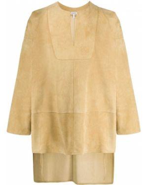 Z rękawami zamsz tunika z długimi rękawami z dekoltem w szpic Loewe
