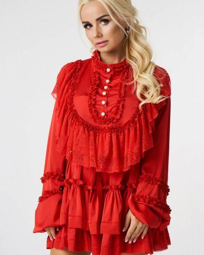 Вечернее платье осеннее красный Luxlook