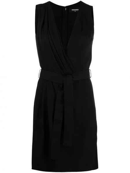Шелковое черное платье с запахом Dsquared2