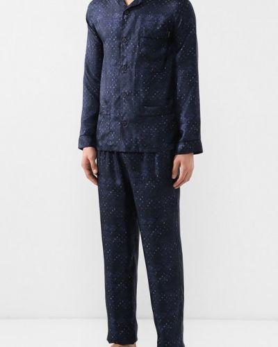 Пижама шелковая темно-синий Ermenegildo Zegna