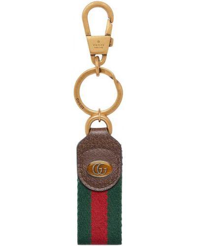 Brązowy brelok metal na hakach z ozdobnym wykończeniem Gucci