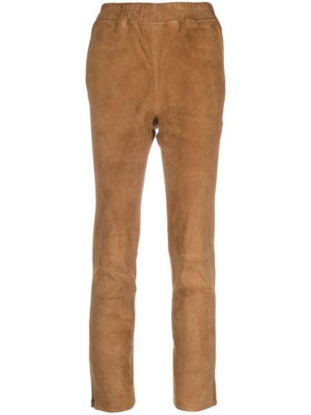 Коричневые кожаные брюки с поясом Arma