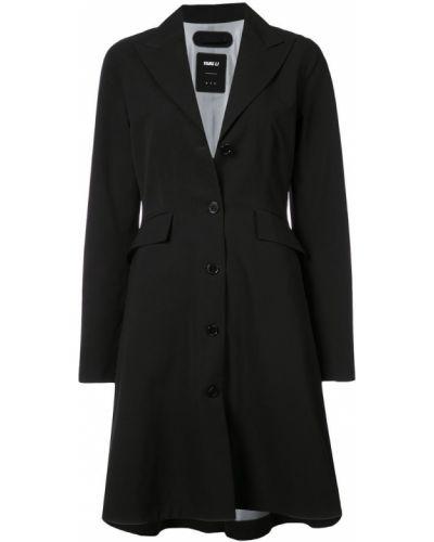 Однобортное черное пальто с капюшоном Yang Li