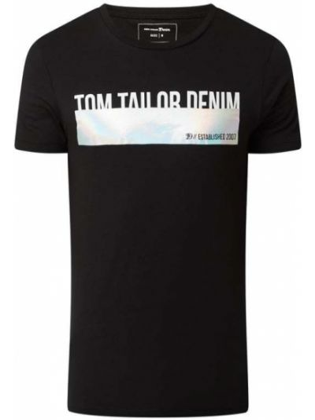 T-shirt z printem - czarna Tom Tailor Denim