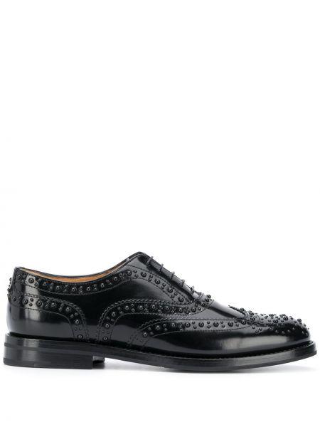 Koronkowa czarny buty brogsy na sznurowadłach z prawdziwej skóry Churchs