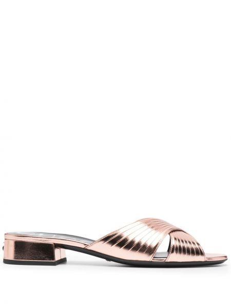 Różowe sandały skorzane peep toe Gucci