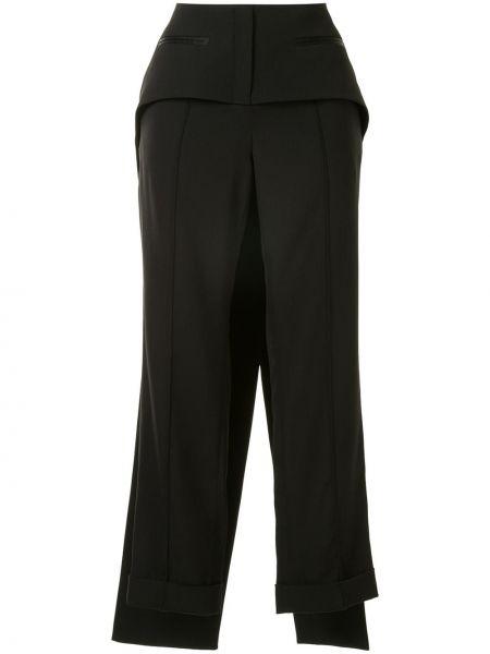 Черные укороченные брюки с воротником с карманами на пуговицах Vera Wang