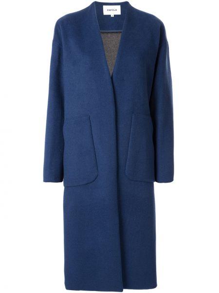 Długi płaszcz wełniany - niebieski Enfold