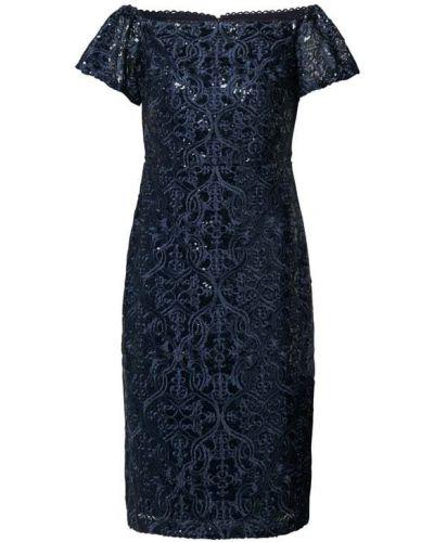 Niebieska sukienka koktajlowa z cekinami krótki rękaw Lauren Ralph Lauren