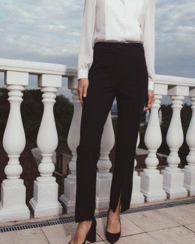Нарядные черные брюки с разрезом Vovk