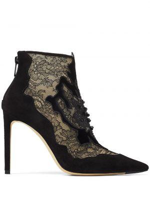 Ażurowy skórzany czarny buty na pięcie na pięcie Jimmy Choo