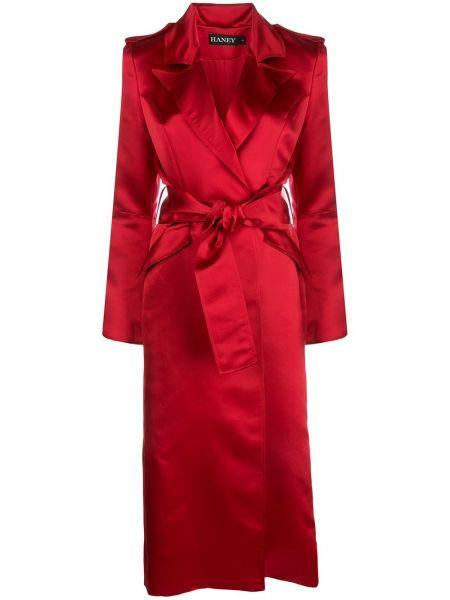 Шелковое красное пальто с запахом с вырезом Haney
