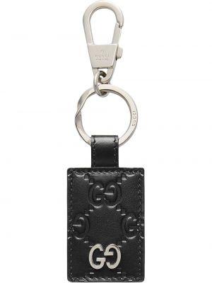 Czarny pierścionek skórzany z printem Gucci