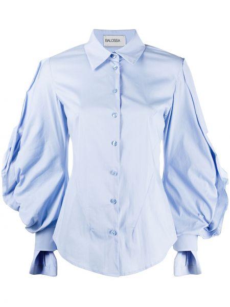 Синяя рубашка с манжетами на пуговицах с оборками Balossa White Shirt