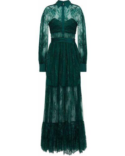 Кружевное платье макси - зеленое Self-portrait