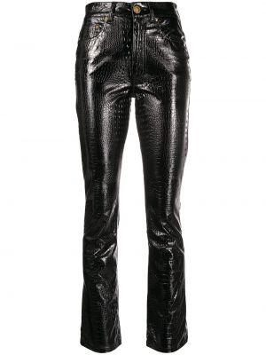 Черные классические брюки с заплатками с карманами из вискозы Chiara Ferragni