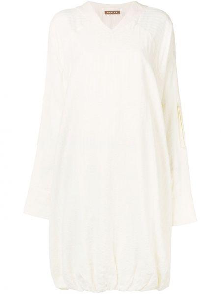 Платье макси с V-образным вырезом на молнии с длинными рукавами с манжетами Nehera