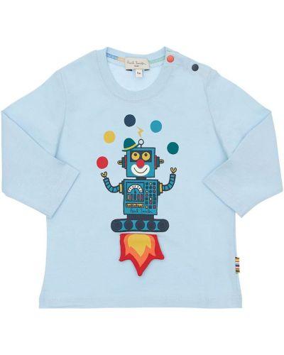 Światło bawełna bawełna niebieski koszula Paul Smith Junior