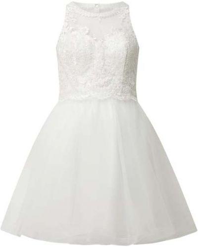 Biała sukienka koktajlowa rozkloszowana tiulowa Laona