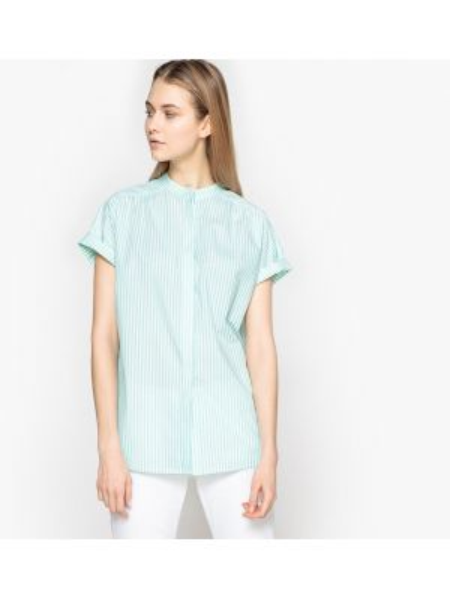 Рубашка с коротким рукавом в полоску хлопковая La Redoute Collections