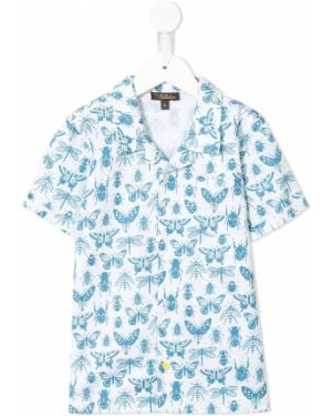 Niebieska klasyczna koszula krótki rękaw bawełniana Velveteen