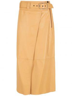 Коричневая юбка миди с завышенной талией НК