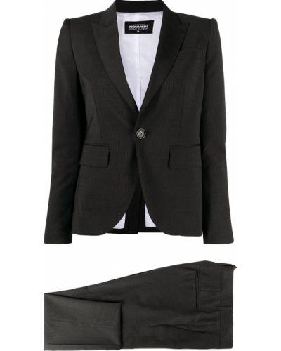 Czarny garnitur wełniany z długimi rękawami Dsquared2
