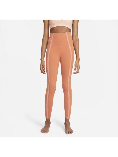 Pomarańczowe legginsy koronkowe Nike