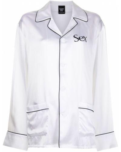 Biały garnitur z wysokim stanem z jedwabiu Christopher Kane